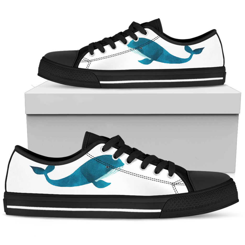 Whale Blue White Surfing Whale Beautiful Fascinating Low Top Shoes