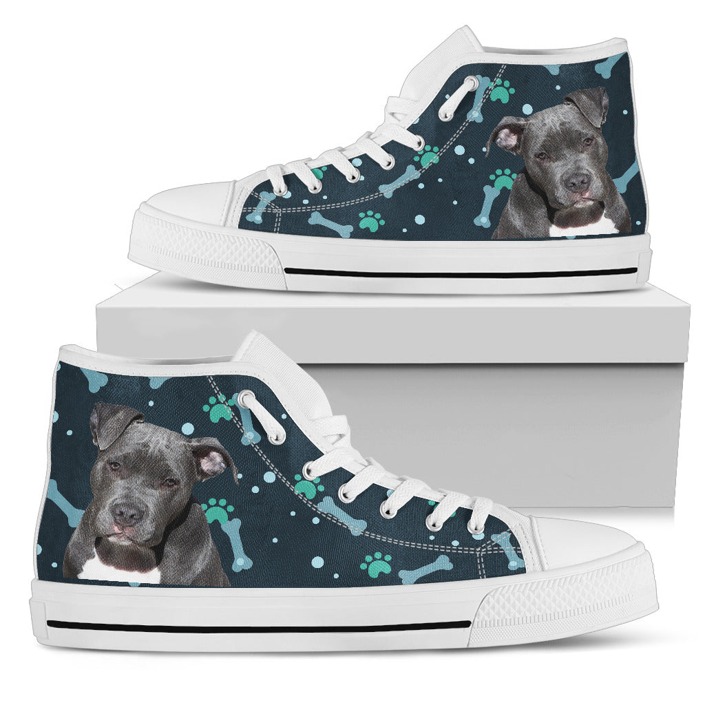 Bone Heart Pattern Pitbull Dog Navy High Top Shoes