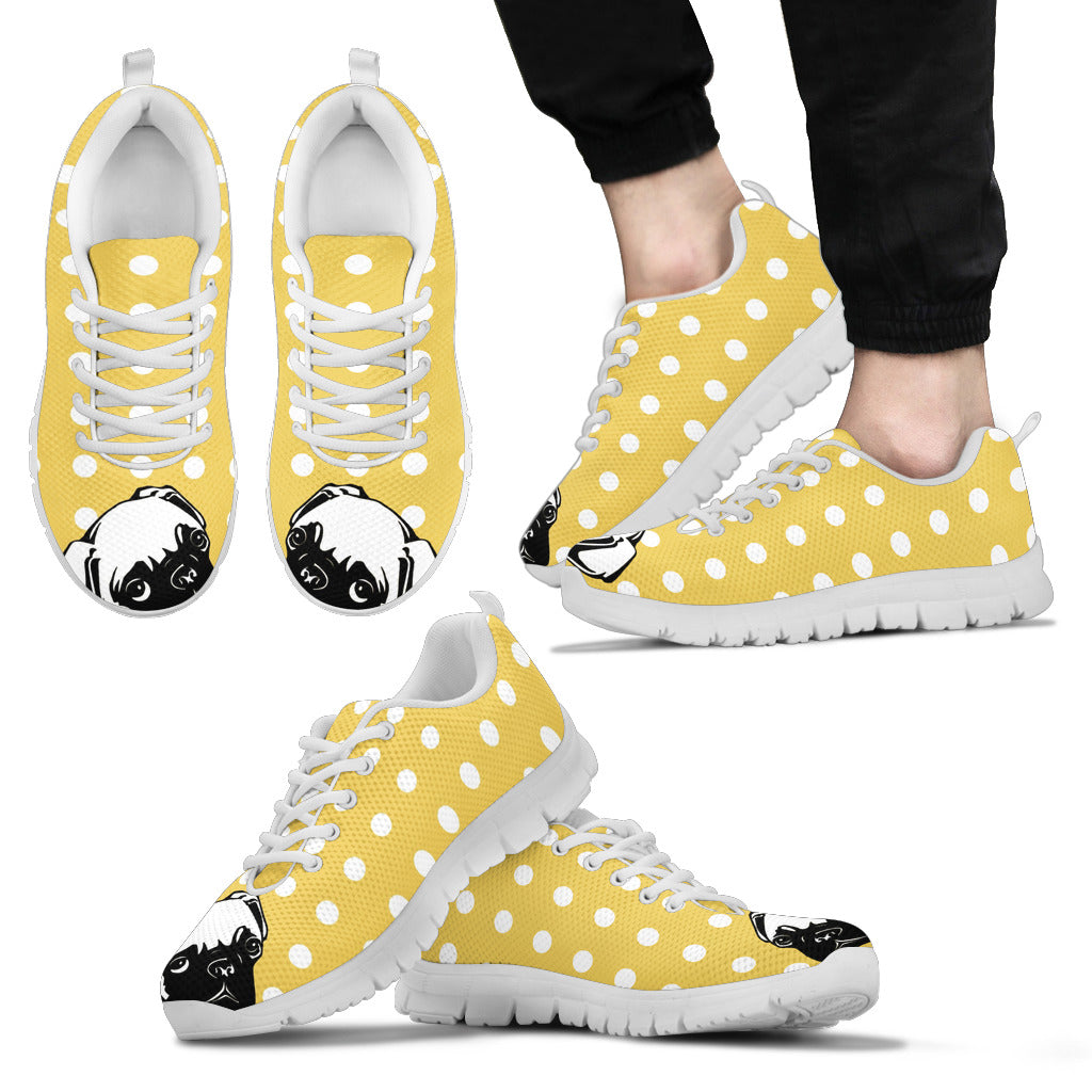 Pastel Yellow White Dot Vintage Pug Face Sneakers