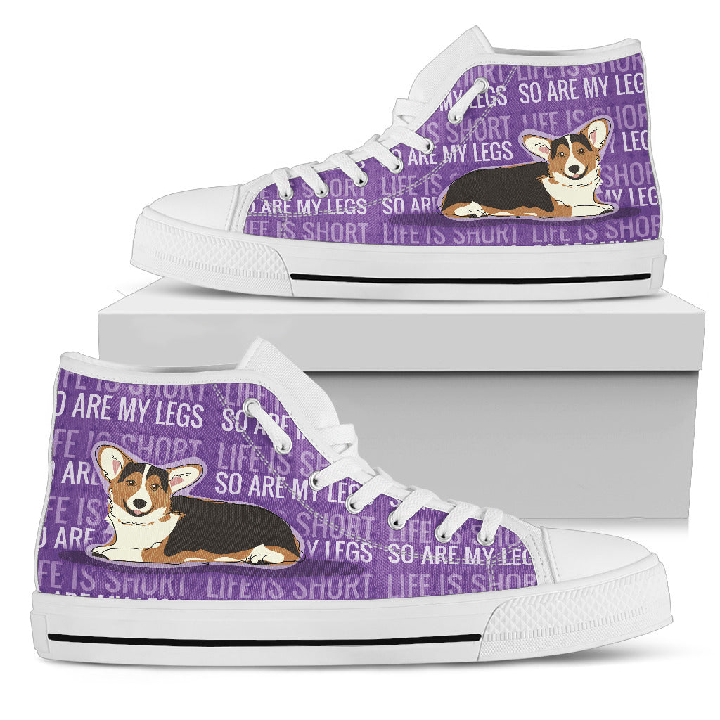 Life Is Short So Are My Legs Corgi Butt High Top Shoes