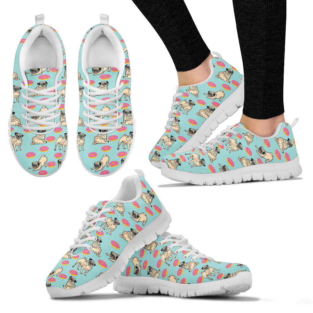 Retro Donuts Pattern Pug Sneakers