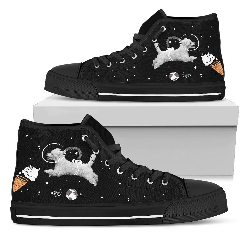 Poodle Astronaut Flying In Spaceman Suit Eating Ice Cream High Top Shoes