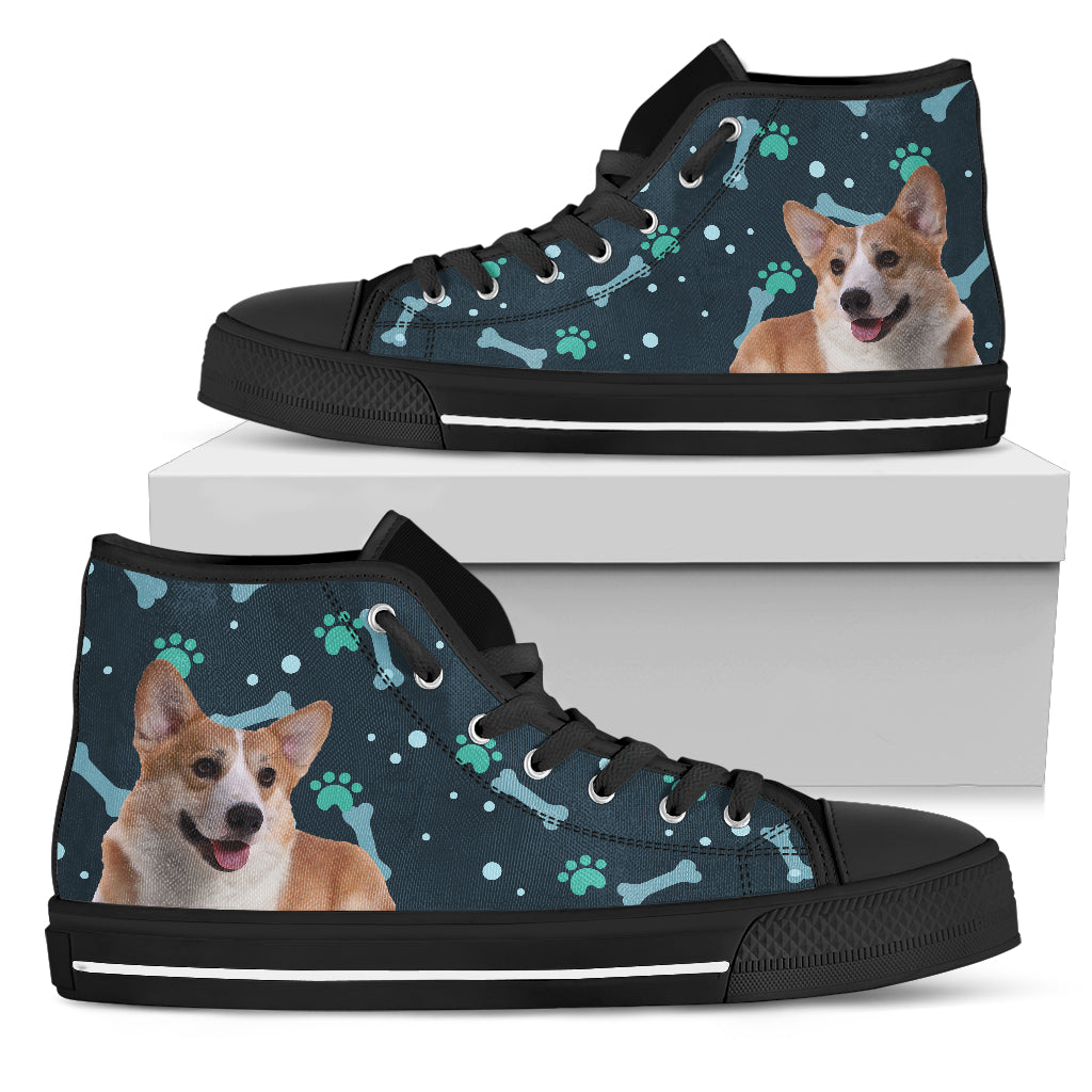 Bone Heart Pattern Corgi Dog Navy High Top Shoes