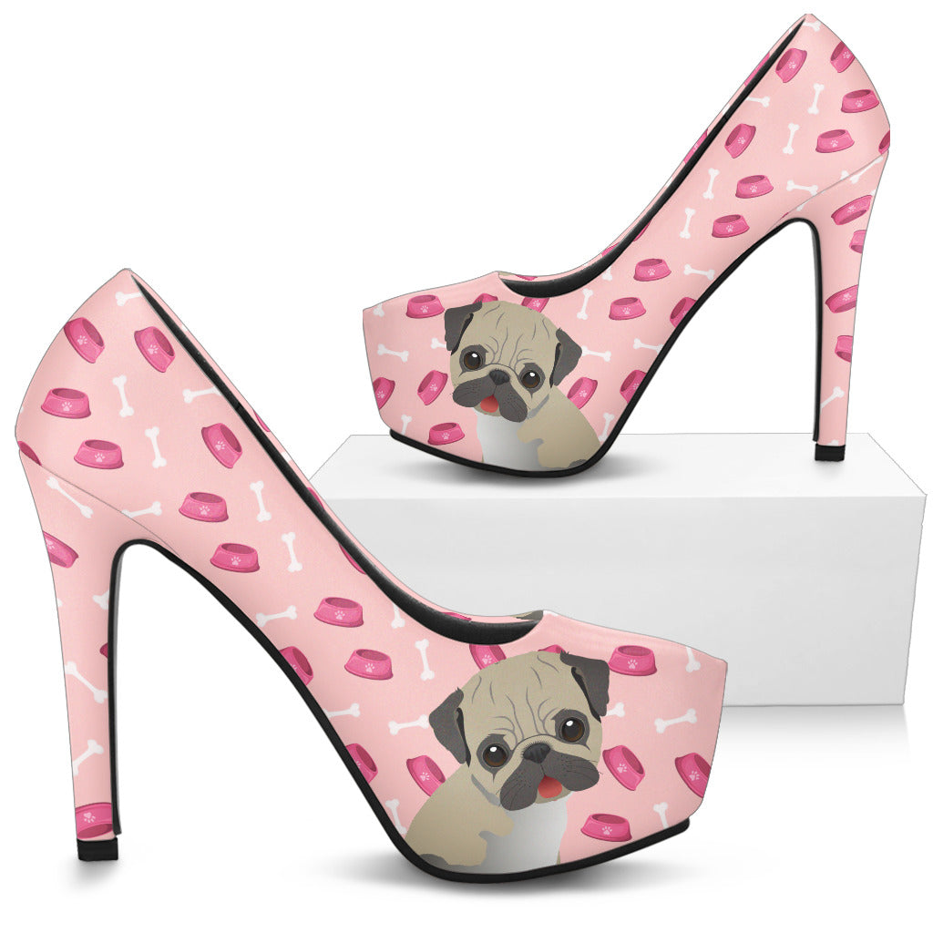 Boston Terrier Pattern Food And Pug High Heels
