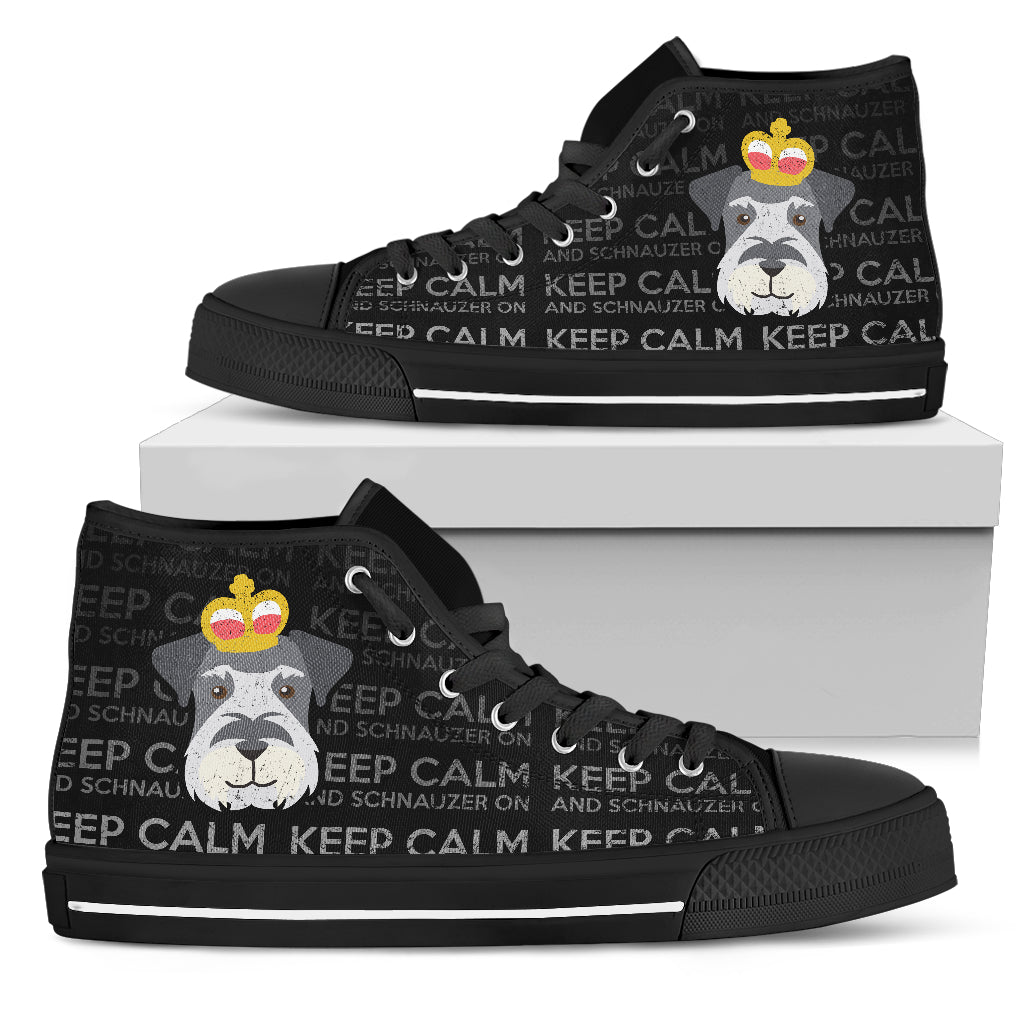 Keep Calm And Schnauzer On High Top Shoes