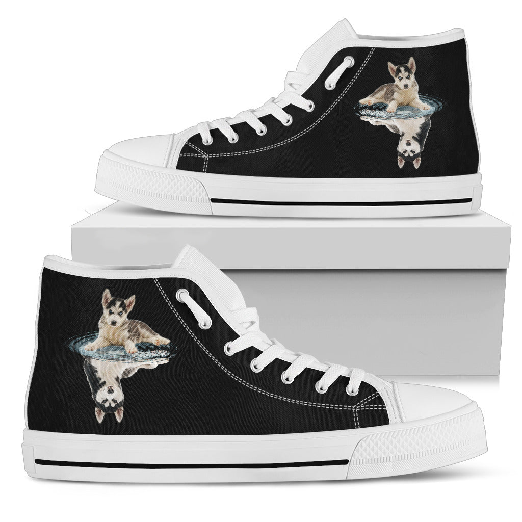 Siberian Husky Dream Reflect Water High Top Shoes