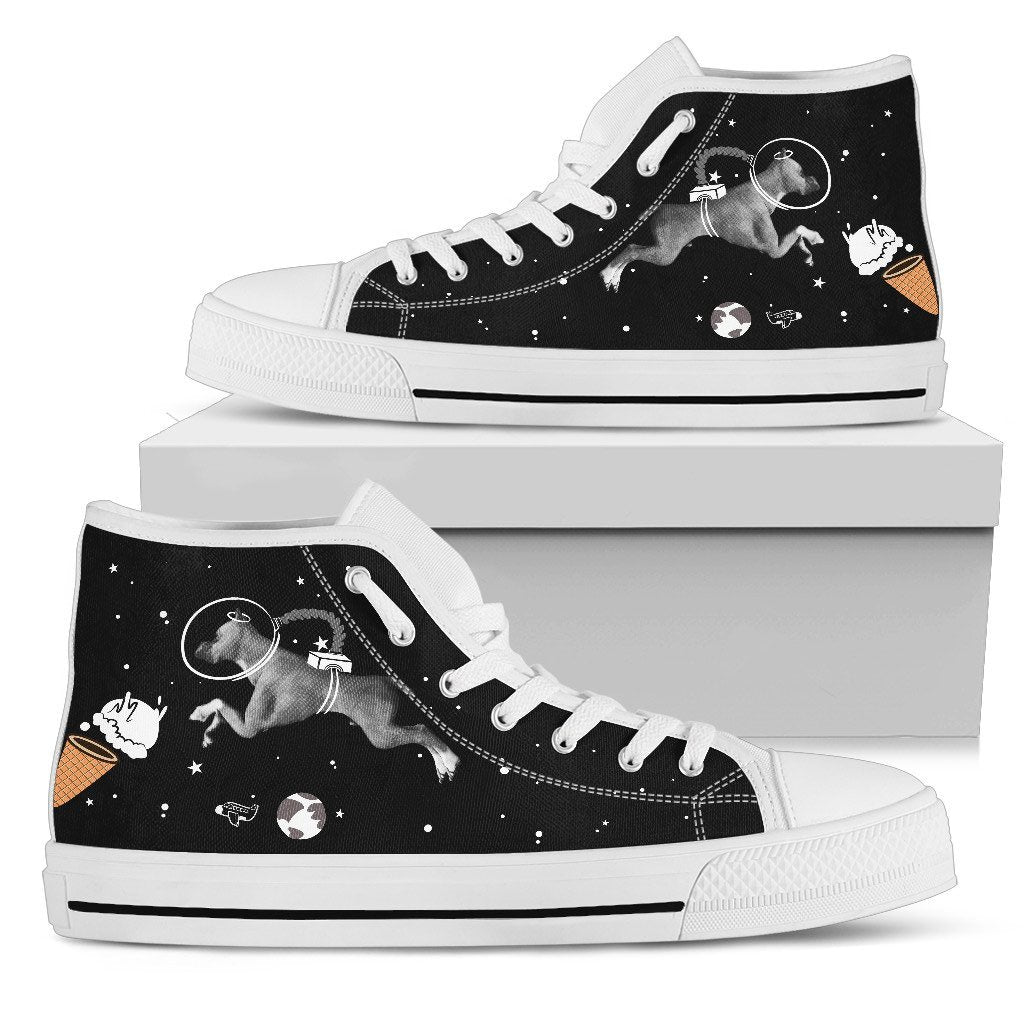 Boxer Astronaut Flying In Spaceman Suit Eating Ice Cream High Top Shoes