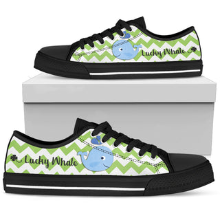Green Wave Pattern Whale Low Top Shoes