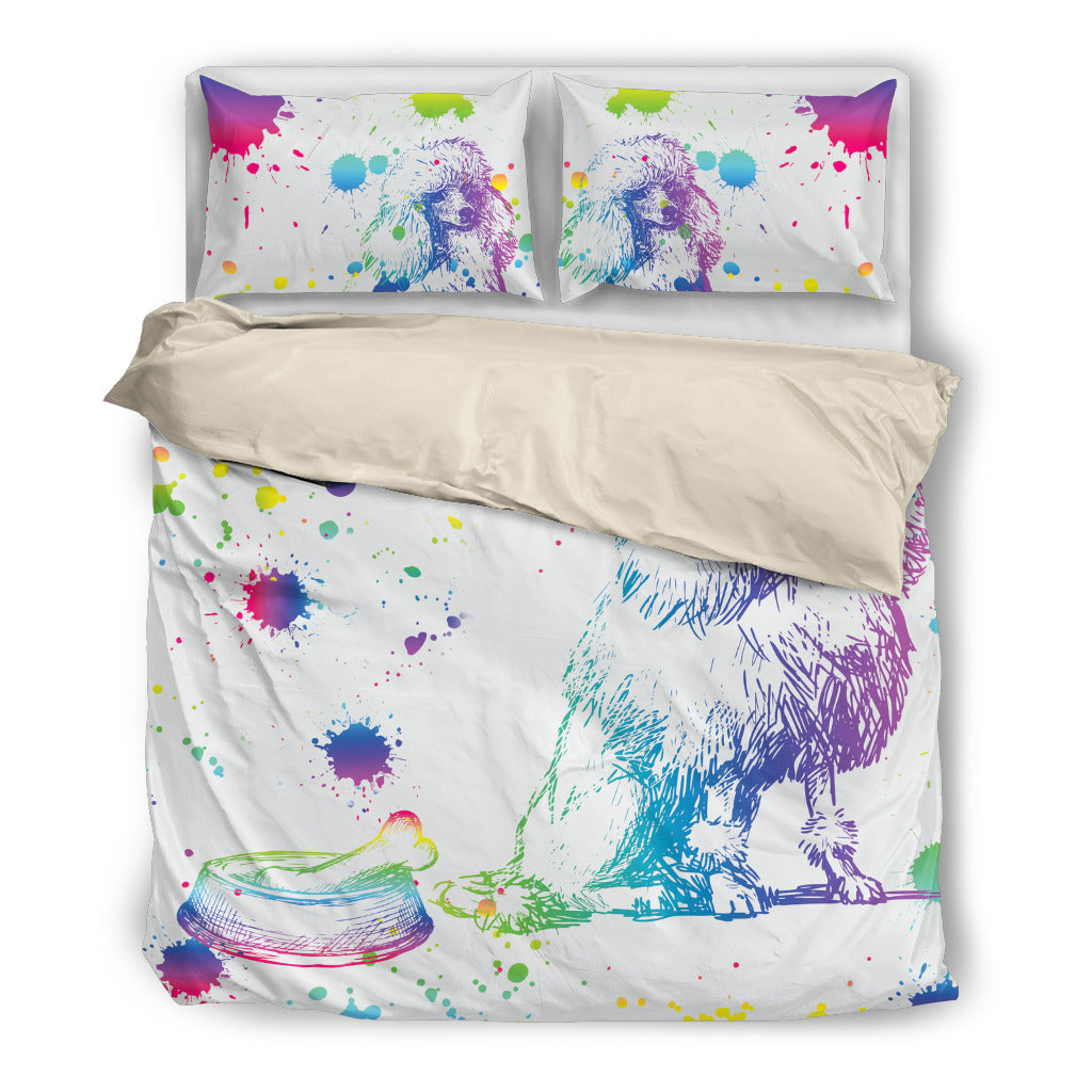 Poodle Watercolor White Background Bedding Sets