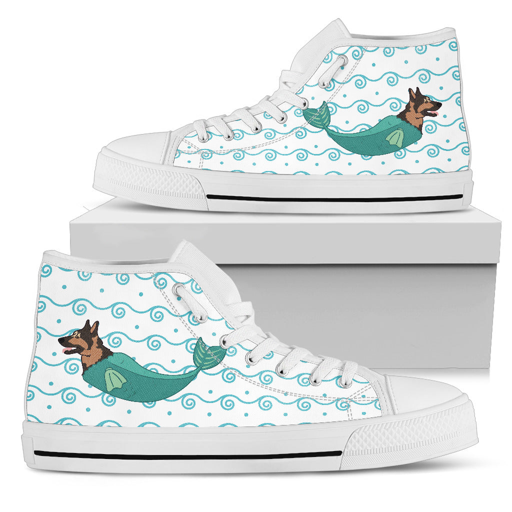 German Shepherd Mermaid Unicorn Cute High Top Shoes Beach Swim