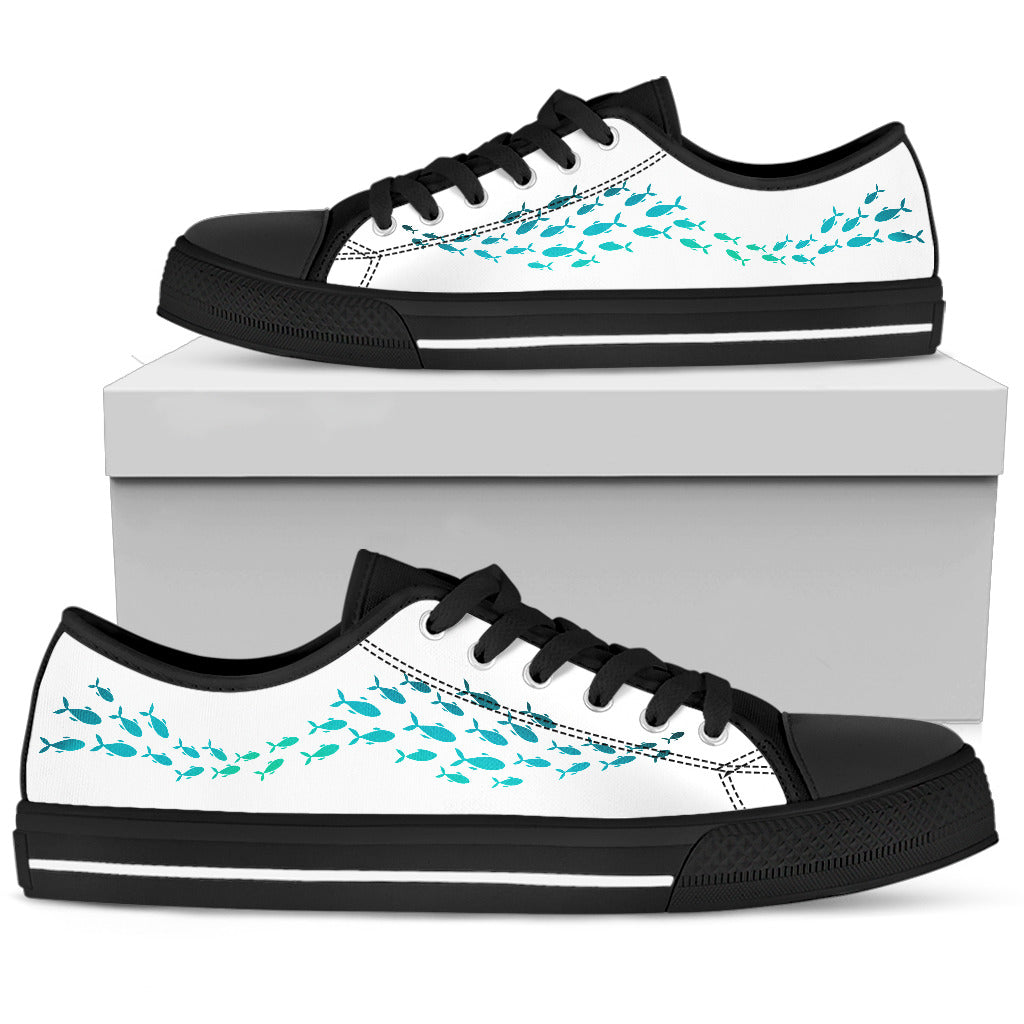 Whale Low Top Shoes Lovely Style Blue Colors