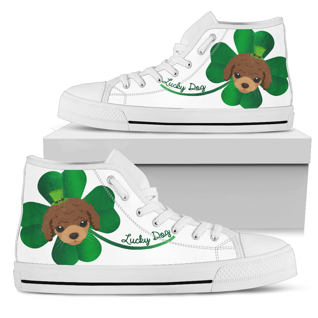Nice Poodle High Top Shoes - Lucky Dog, is a cool gift for friends