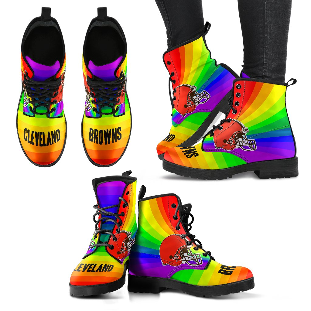 Awesome Rainbow Cleveland Browns Boots
