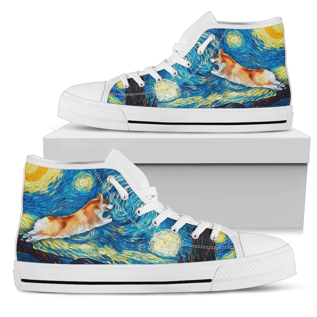 Funny Corgi High Top Shoes Into The Sky