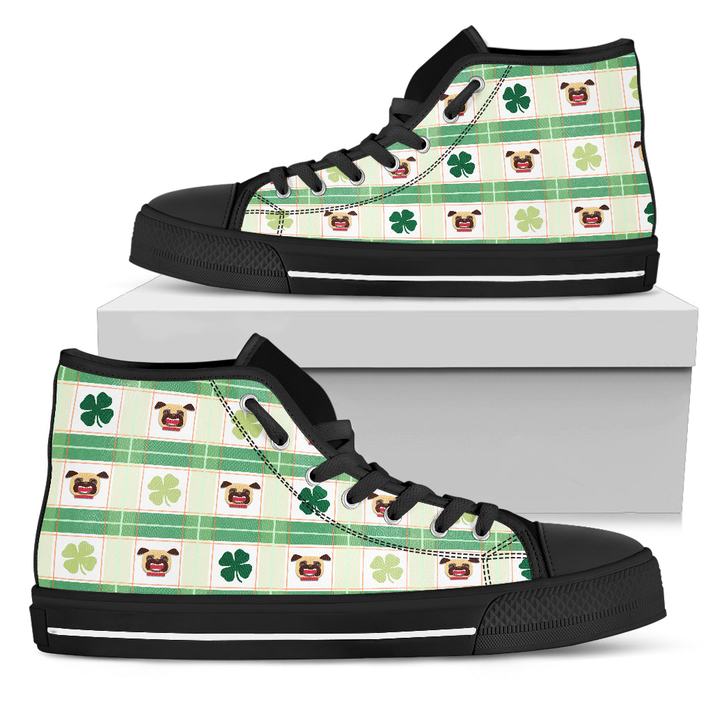 Shamrock With Pug High Top Shoes