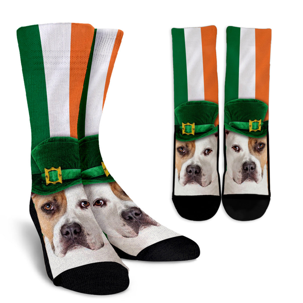 Irish Pitbull Ireland Flag Background Crew Socks