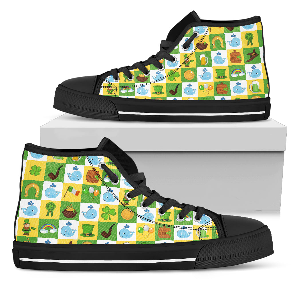 Whale And Saint Patrick's Day Elements High Top Shoes
