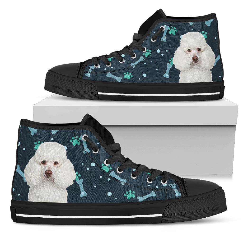 Bone Heart Pattern Poodle Dog Navy High Top Shoes