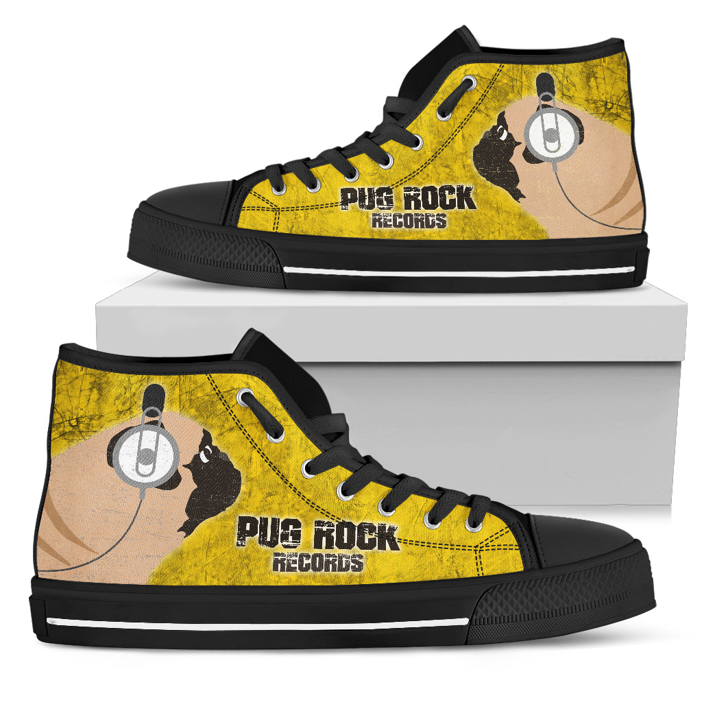 Funny Pug Dog High Top Shoes Pug Rock Records Yellow