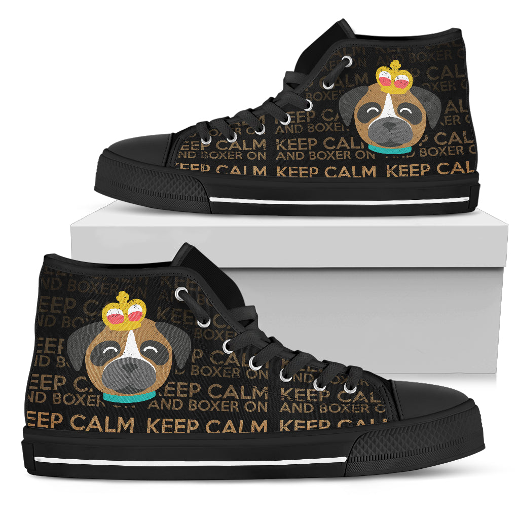 Keep Calm And Boxer On High Top Shoes