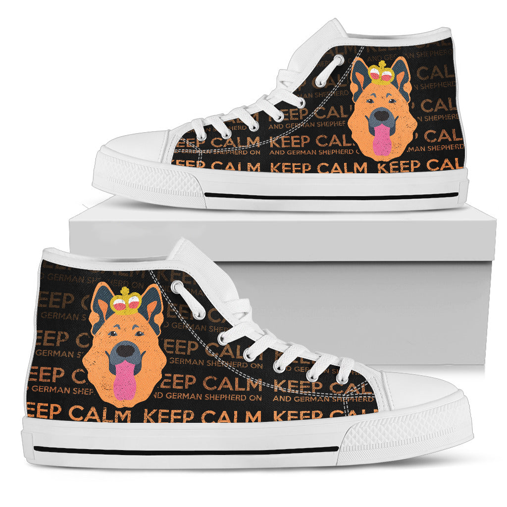 Keep Calm And German Shepherd On High Top Shoes