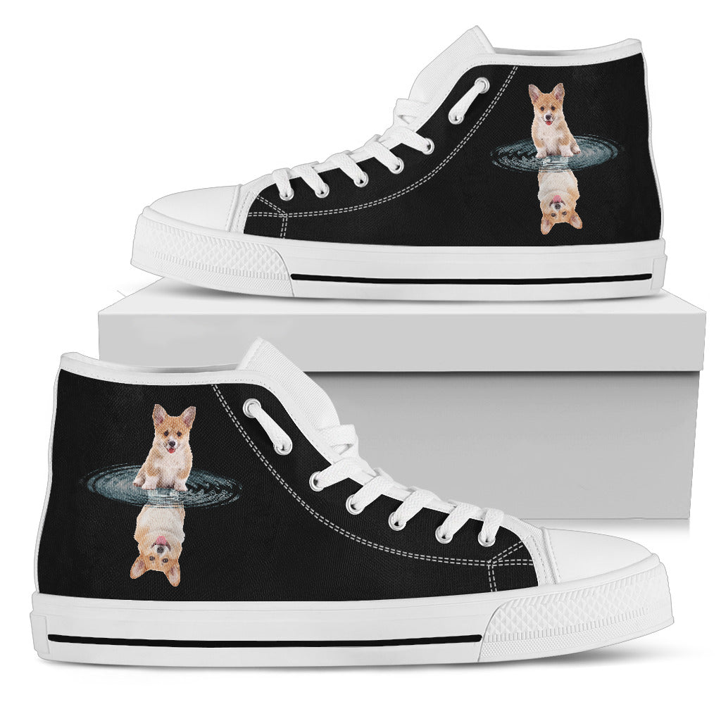 Corgi Dream Reflect Water High Top Shoes
