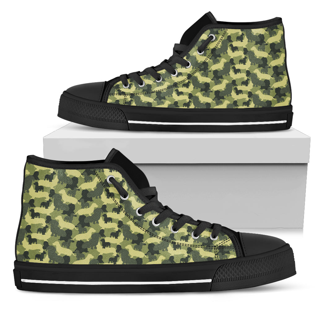 Camouflage Solider Military Dachshund Dog High Top Shoes