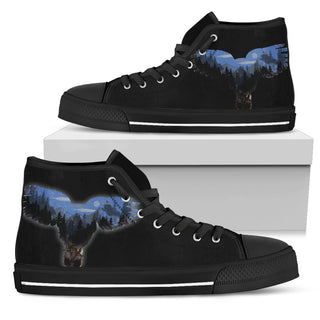 Great Owl Forest Art Design High Top Shoes