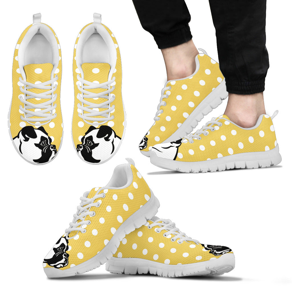 Pastel Yellow White Dot Vintage Boxer Face Sneakers