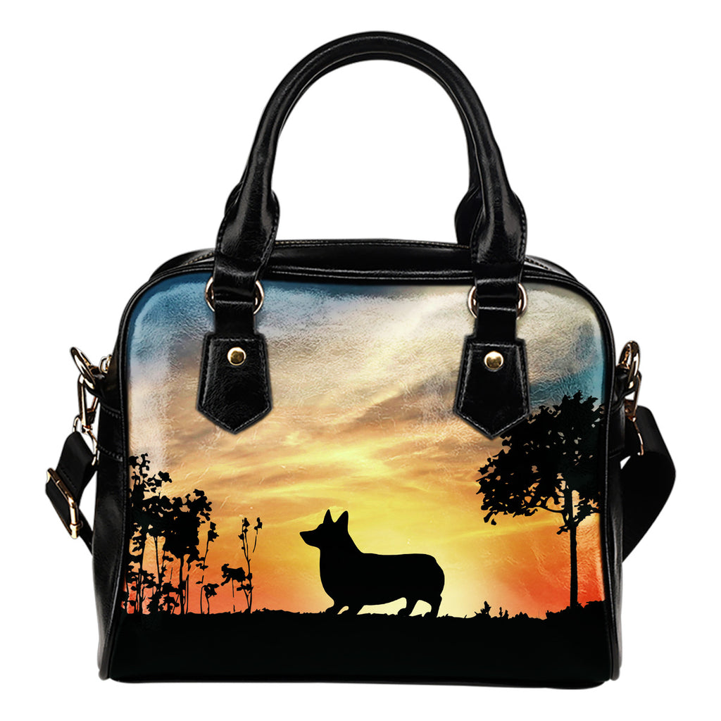 Corgi Sunshine Silhouette Shoulder Handbags