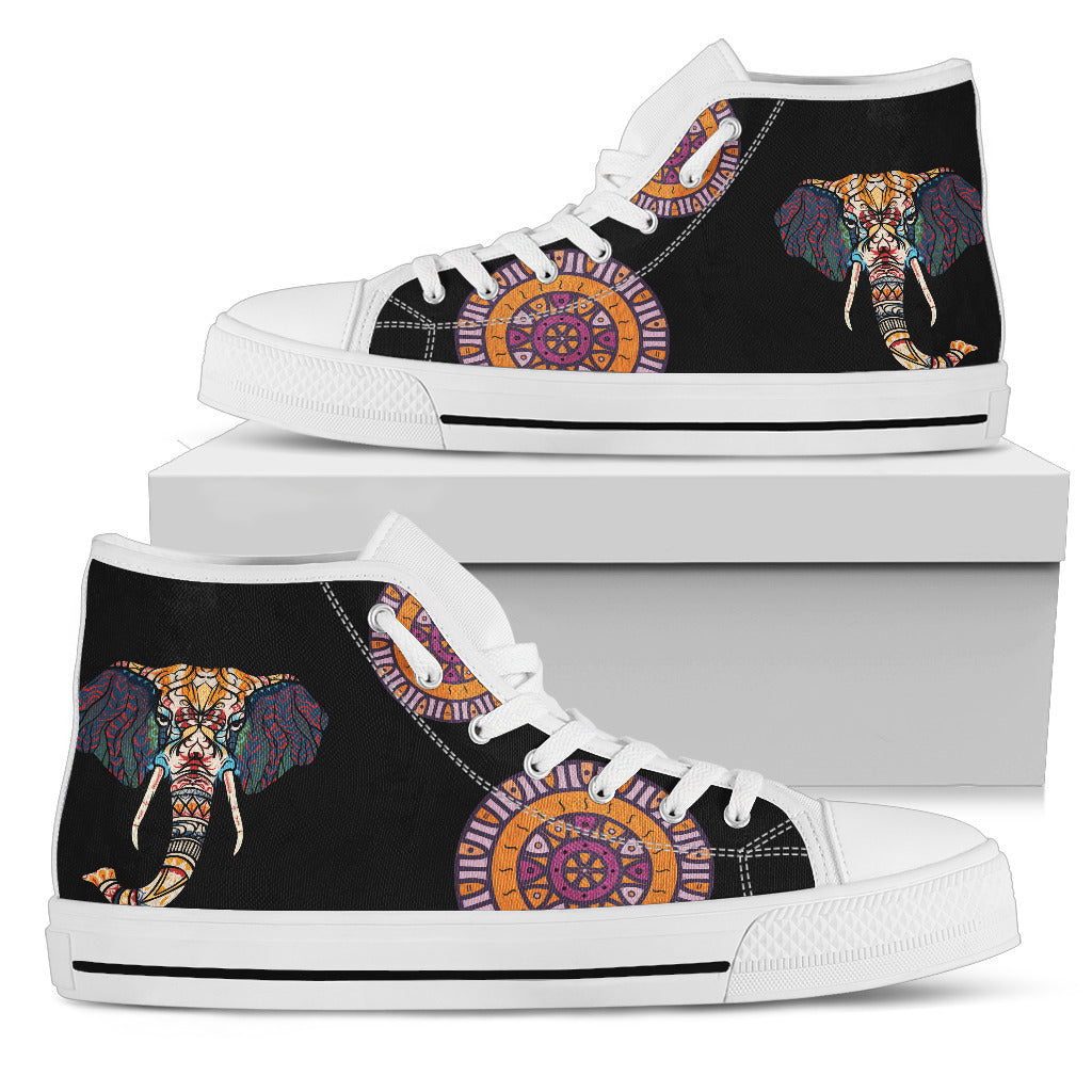 Elephant Head Ethic Pattern Cool High Top Shoes