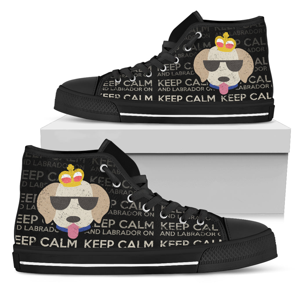 Keep Calm And Labrador On High Top Shoes