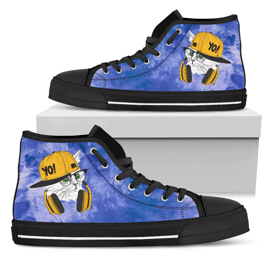 Cat Loves Music Lovely Cat Cute Cat Gifts for Cat Lovers High Top Shoes