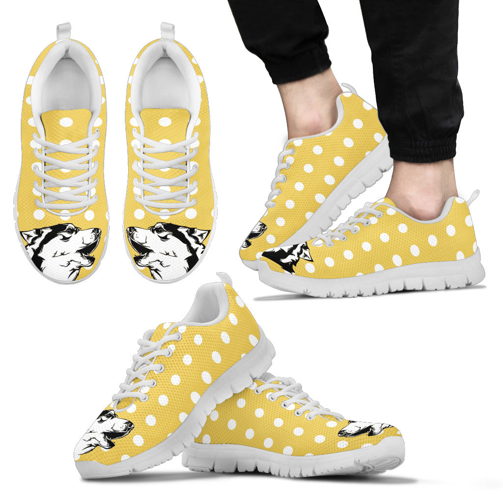 Pastel Yellow White Dot Vintage Siberian Husky Face Sneakers
