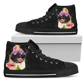 Interesting Pug Flower Black High Top Shoes