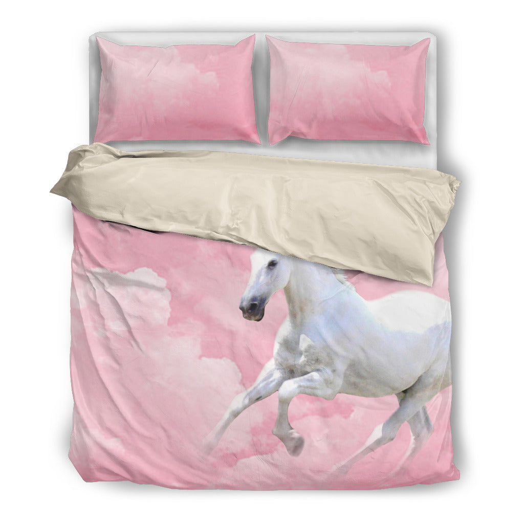 White Incredible Horse In Pink Pastel Cloud Bedding Set Ver 1