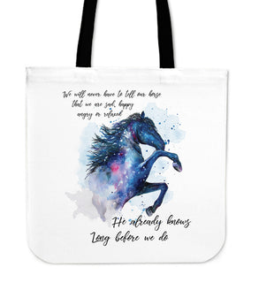 Lovely Horse - He Already Knows Long Before We Do Tote Bags