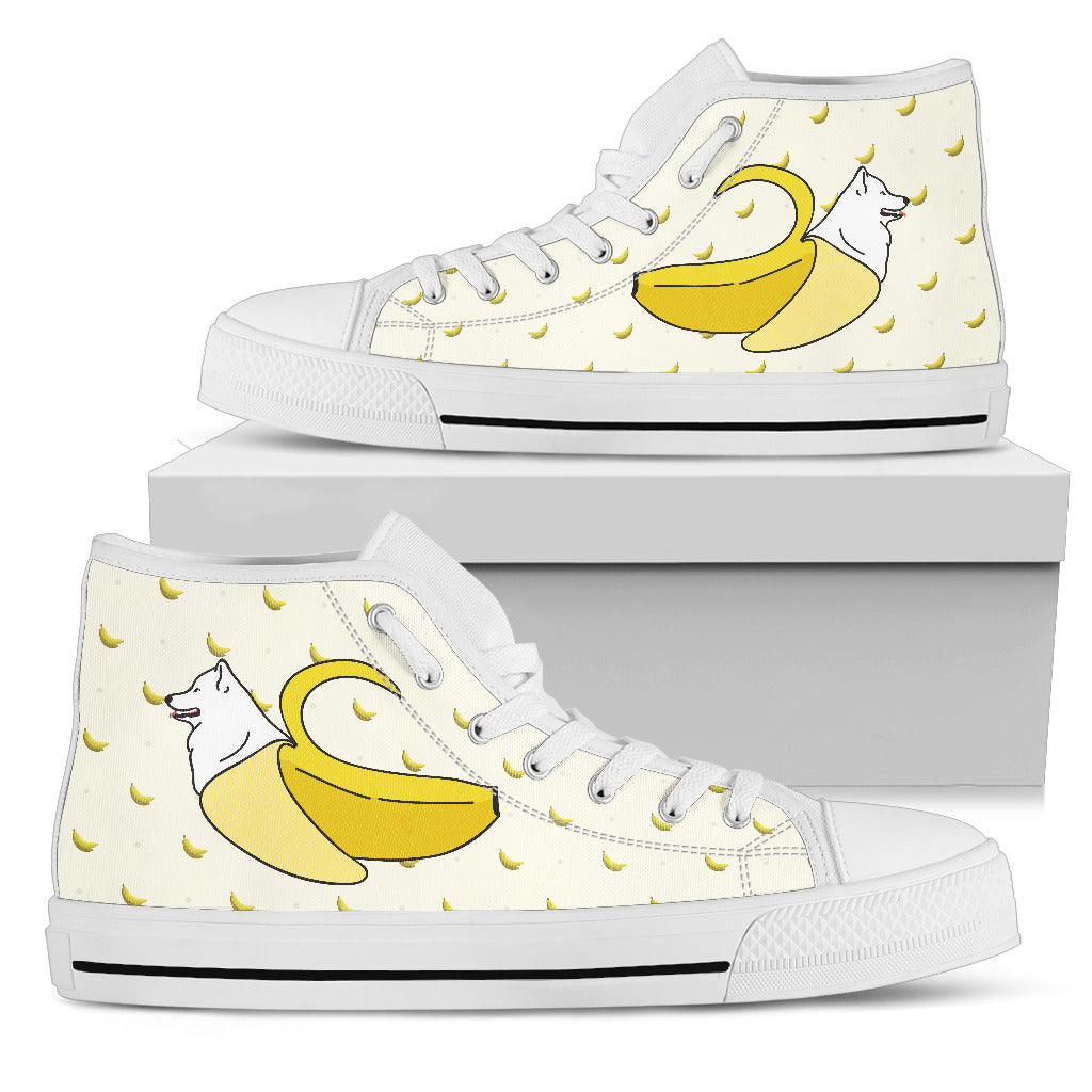 Samoyed Inside Banana Funny Gift High Top Shoes