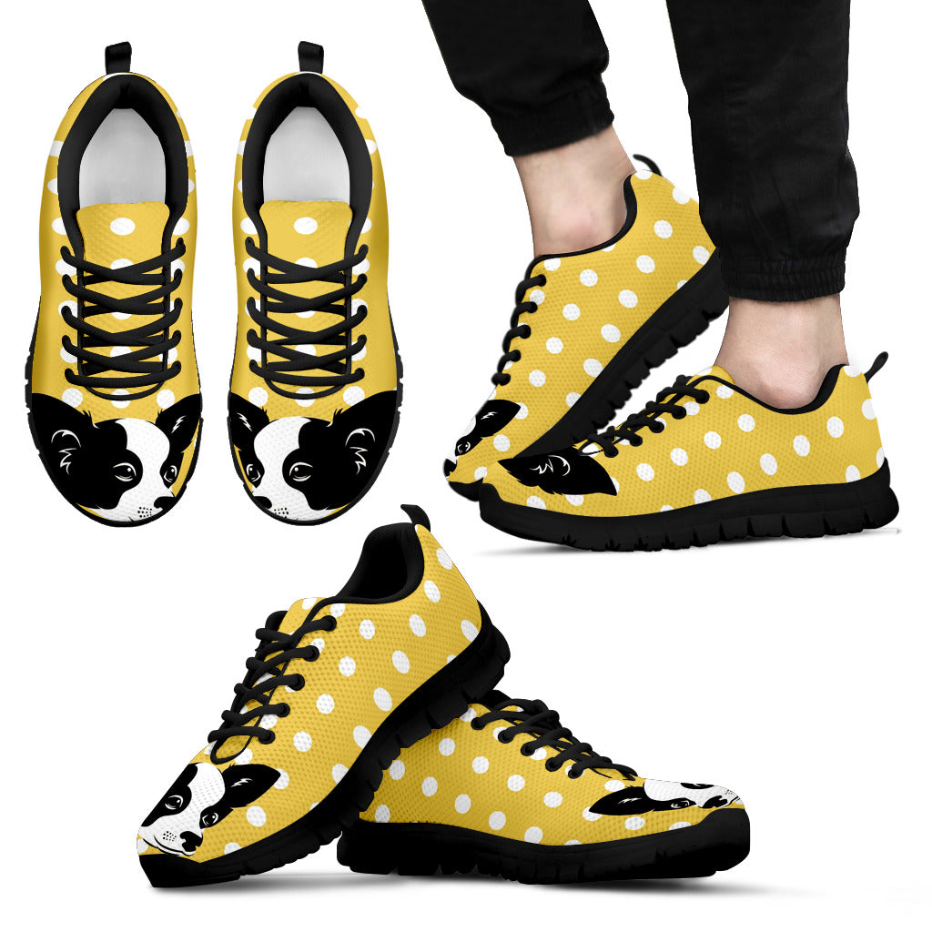 Pastel Yellow White Dot Vintage Chihuahua Face Sneakers