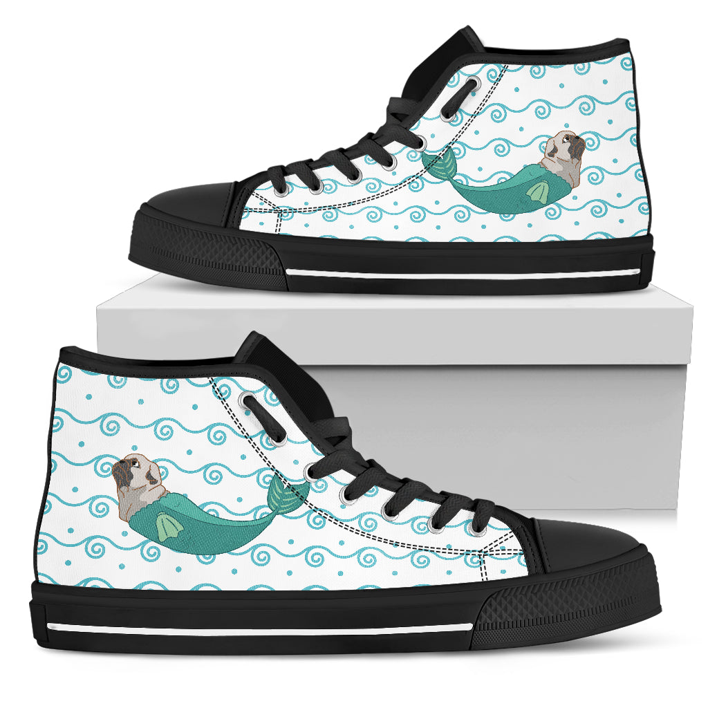 Pug Mermaid Unicorn Cute High Top Shoes Beach Swim