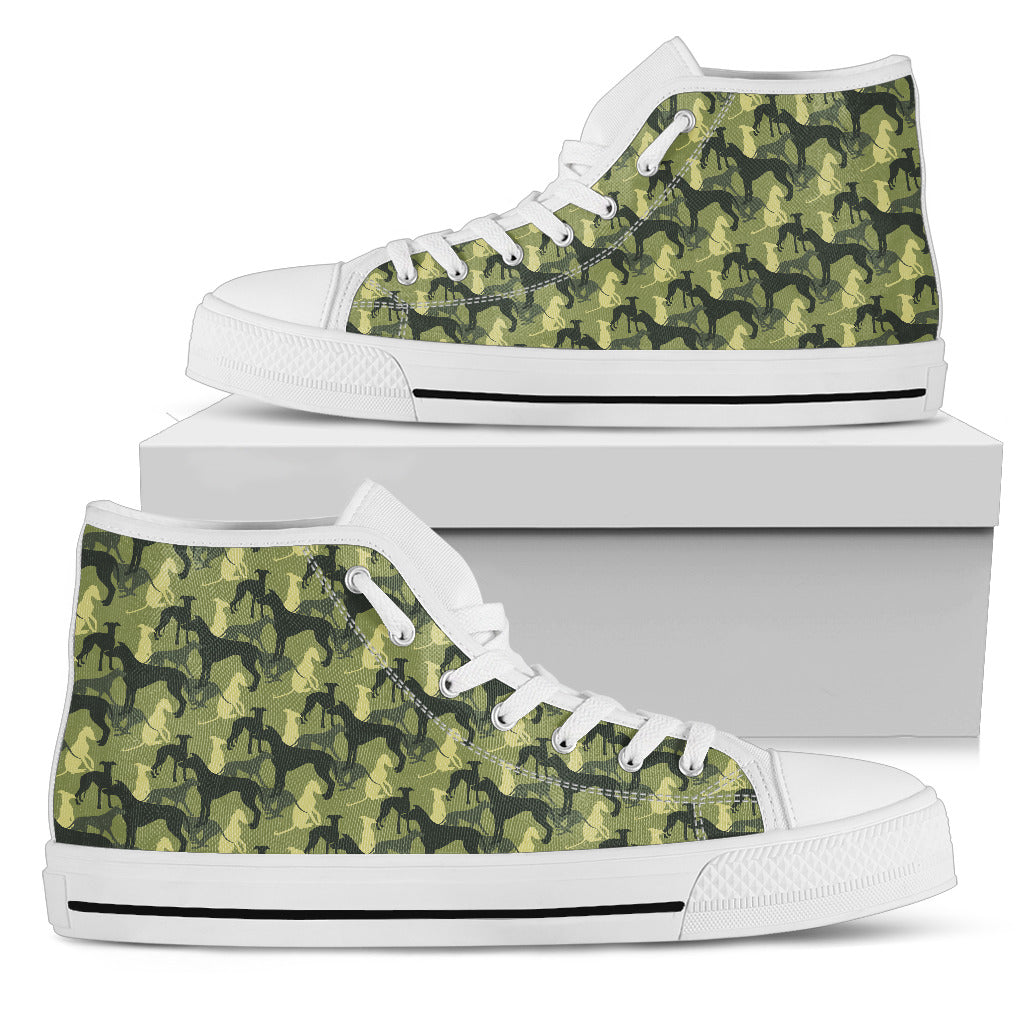 Camouflage Solider Military Greyhound Dog High Top Shoes
