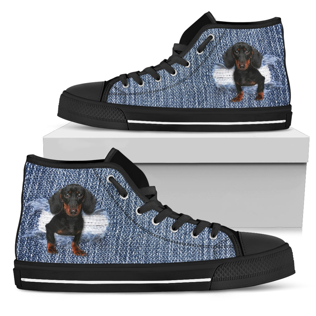 Dachshund Break The Wall High Top Shoes