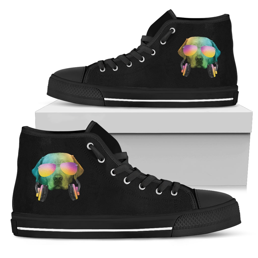 Dj Music Headphone Dog Labrado High Top Shoes