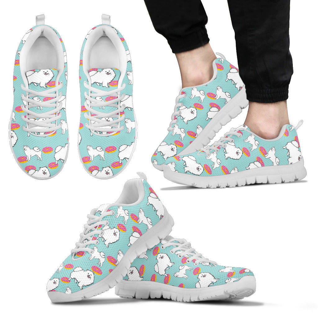 Retro Donuts Pattern Samoyed Sneakers