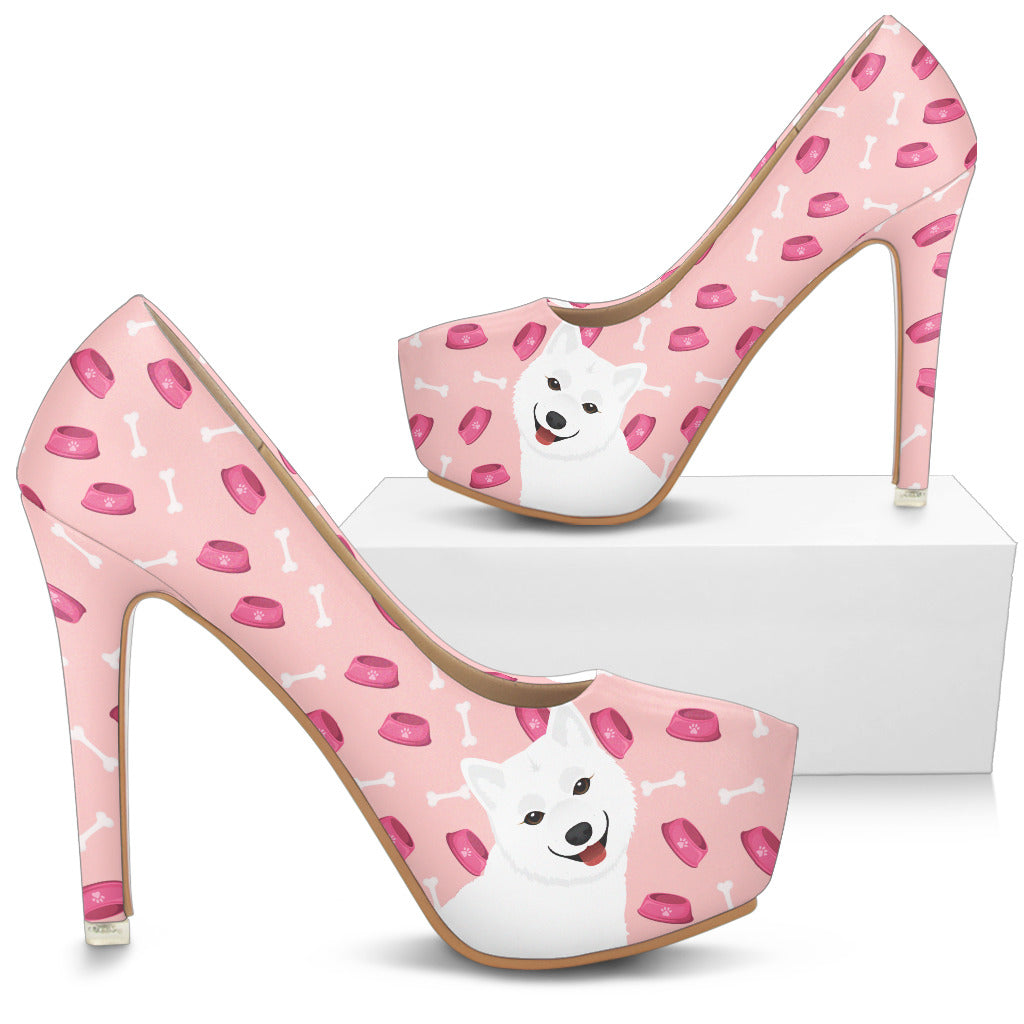 Boston Terrier Pattern Food And Samoyed High Heels