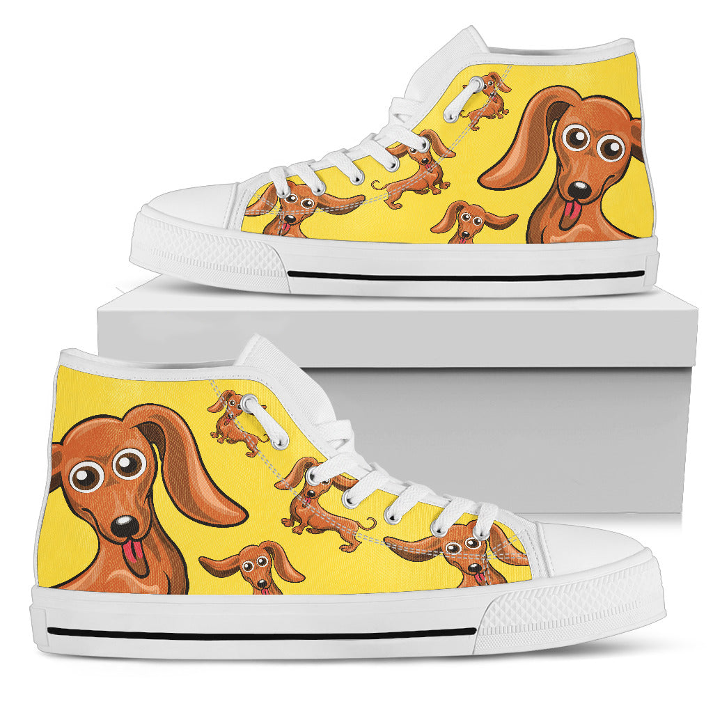 Funny Dachshund Dog High Top Shoes Dachshund Face Pattern