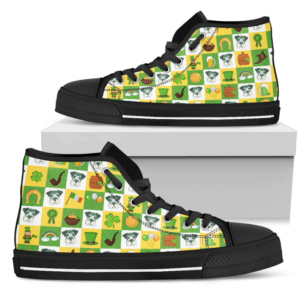 Schnauzer And Saint Patrick's Day Elements High Top Shoes