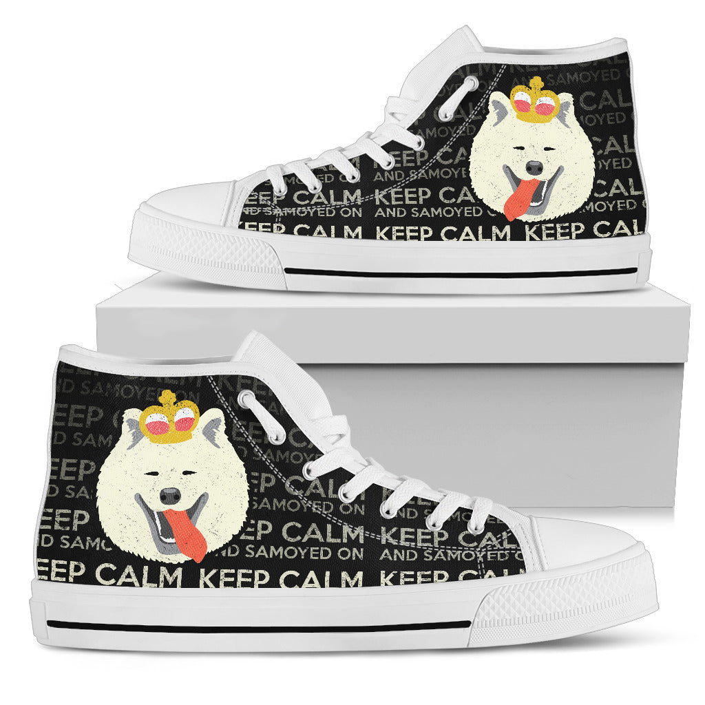 Keep Calm And Samoyed On High Top Shoes