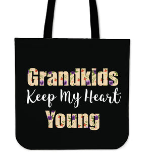 Interesting Grandkids Keep My Heart Young Tote Bags