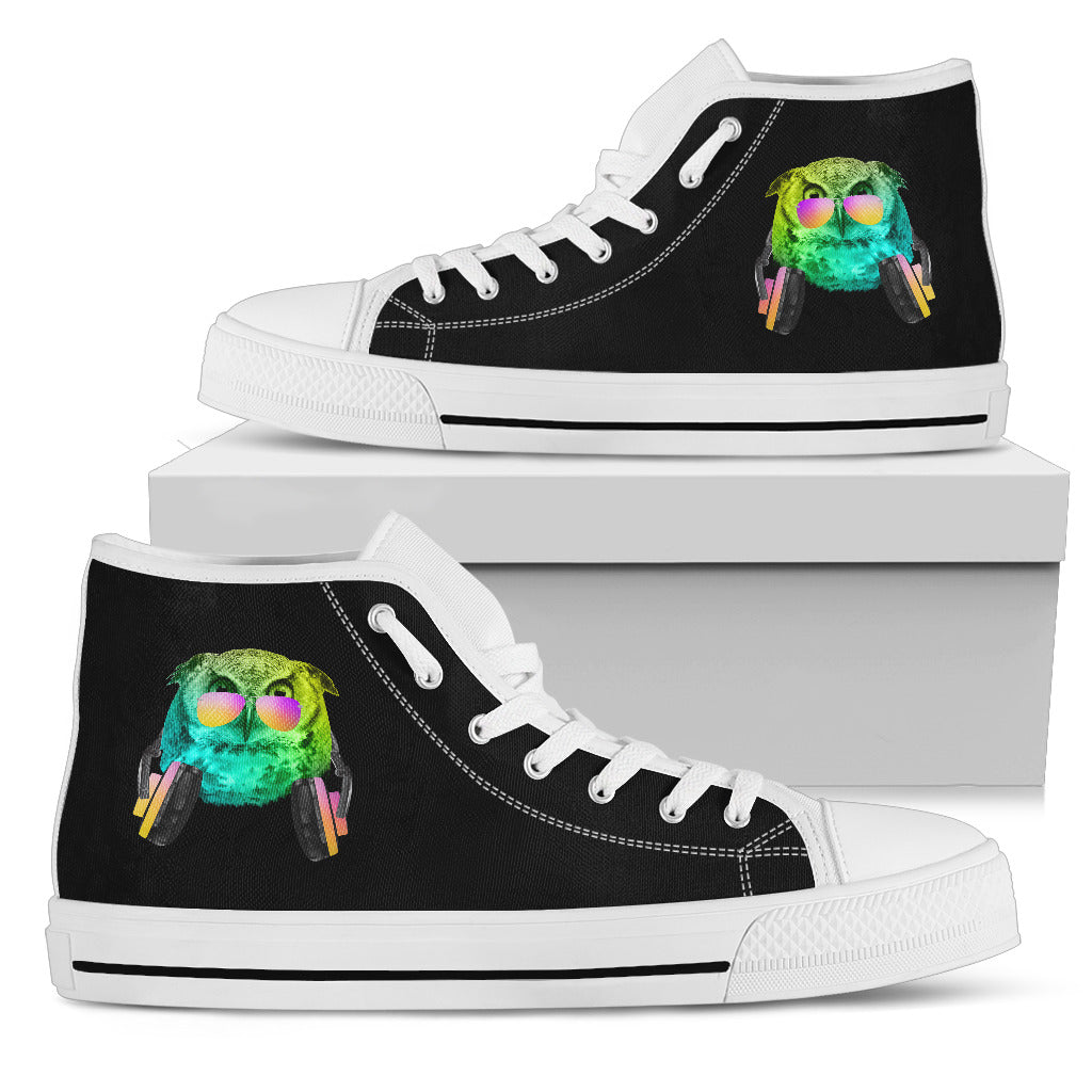 Dj Music Headphone Owl High Top Shoes